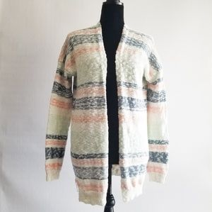 Wild Pearl Knit Striped Cardigan Pink And White